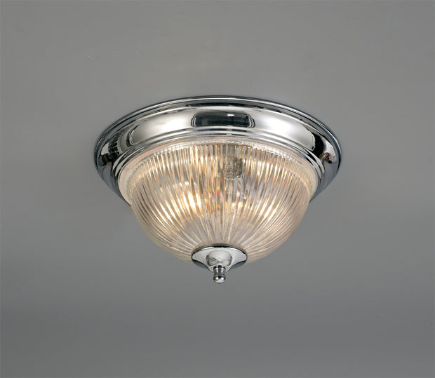 Deco Macy D0404 Polished Chrome 2 Light Flush Ceiling Light With Clear Ribbed Glass - IP44