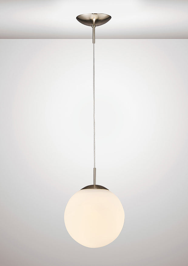 Deco Miranda D0122 Satin Nickel Small Single Pendant With Frosted White Glass Globe