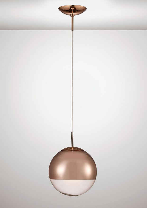 Deco Miranda D0126 Copper Small Single Pendant With Copper Mirrored/Clear Glass Globe