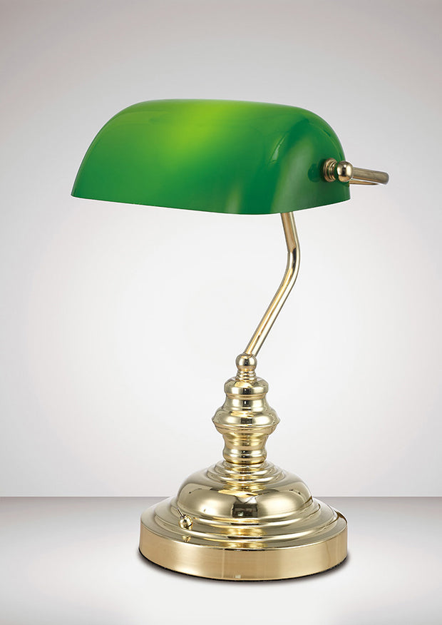 Deco Morgan D0084 Polished Brass Bankers Table Lamp With Green Glass