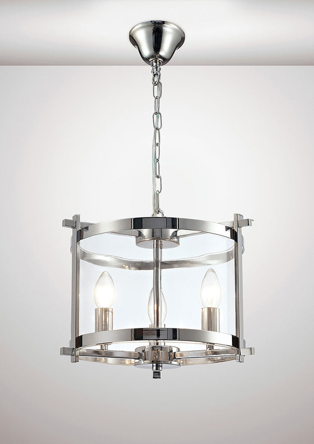Deco Nolan D0087 Polished Chrome 3 Light Lantern Pendant With Clear Glass