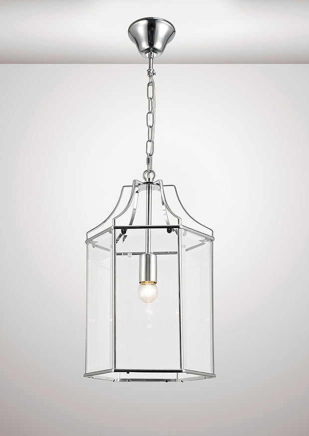 Deco Payton D0094 Polished Chrome Single Hexagonal Lantern Pendant With Clear Glass