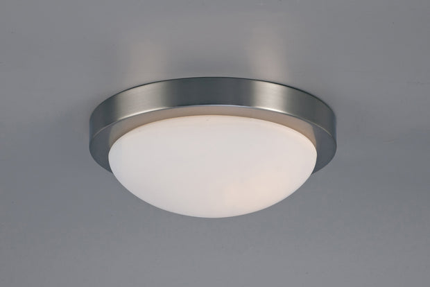 Deco Porter D0397 Satin Nickel 2 Light Large Flush Ceiling Light With Opal Glass - IP44