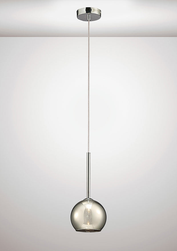 Deco Regina D0105 Polished Chrome Single Pendant With Smoked Glass Shade