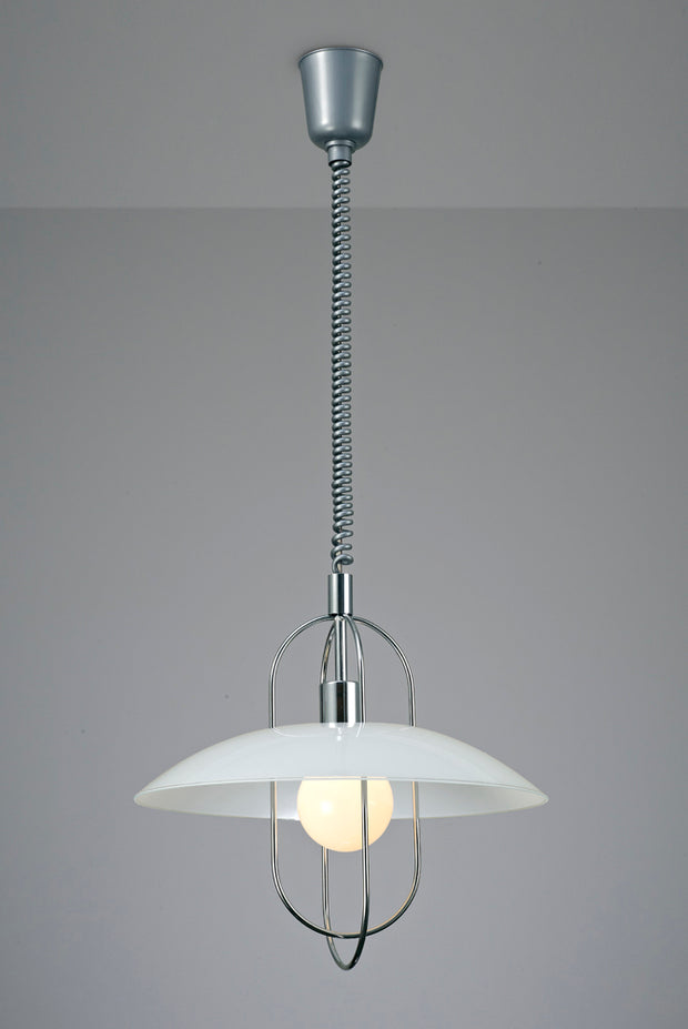 Deco Riva D0265 Polished Chrome Rise & Fall Single Pendant With White Glass Shade