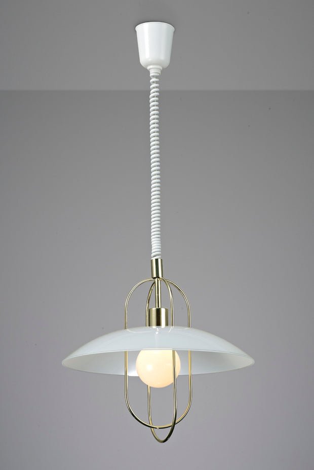 Deco Riva D0266 Polished Brass Rise & Fall Single Pendant With White Glass Shade