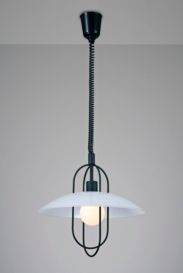 Deco Riva D0269 Matt Black Rise & Fall Single Pendant With White Glass Shade