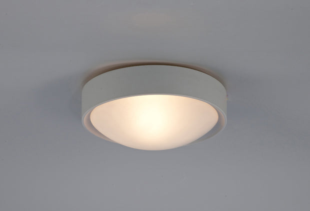 Deco Rondo D0399 Satin Nickel 1 Light Flush Ceiling Light With Frosted Glass - IP44