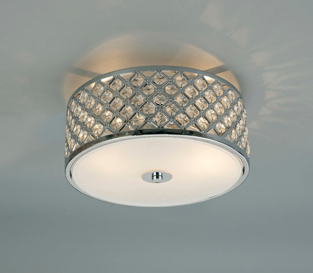 Deco Sasha D0411 Polished Chrome 2 Light Flush Ceiling Light With Crystal Glass And Opal Glass Diffuser