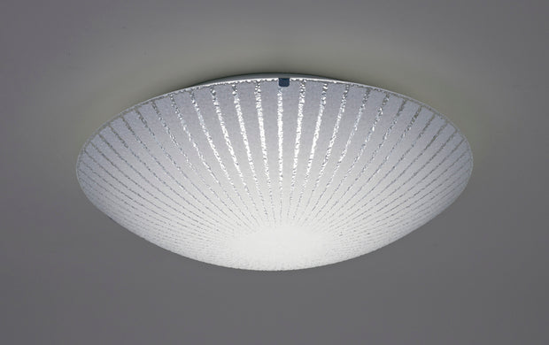 Deco Tassa D0408 LED Medium Flush Ceiling Light With Sunray Pattern Glass And Polished Chrome Detailing - 400mm 4000K