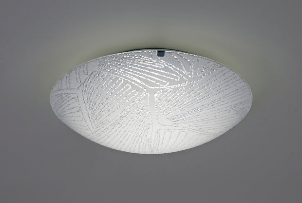 Deco Tassa D0409 LED Small Flush Ceiling Light With Opal Patterned Glass And Polished Chrome Detailing - 300mm 4000K