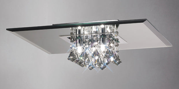 Deco Theo D0017 Polished Chrome/Smoked Mirror 5 Light Flush Crystal Ceiling Light