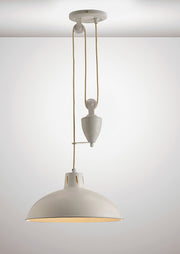 Deco Wellington D0151 Matt White Rise & Fall Single Pendant