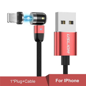 USLION New Updated Magnetic Cable Fast Charging Micro USB Type C Mobile Phone Cable For Samsung iPhone 360+180 Degree Roating