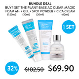 [The Plant Base] AC Clear 4PC Bundle 1 Magic Gel + 1 Magic Cica Cream + 1 Magic Foam + 1 Spot Magic Powder