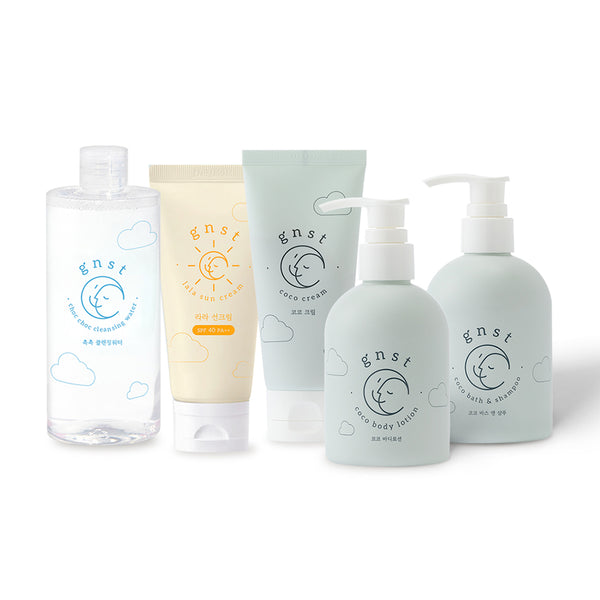 [GNST] (1 PCS) Coco Cream + (1 PCS) Coco Lotion + (1 PCS) Cleansing Water + (1 PCS) Bath and Body + Free (1 PCS) Lala Sun Cream