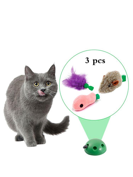 3Pcs Cat Toy Pop Play Pet Toy Ball POP N PLAY Cat Scratching Device With 3 Replaceable Accessories Mouse Fish Feather - Satisfashion.ca