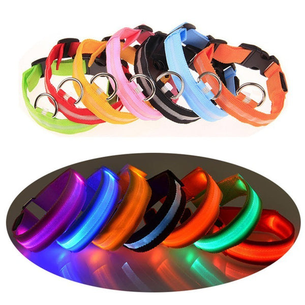 1PC Nylon Pet Dog Collar LED Light Night Safety Glowing Pet Supplies Cat LED Dog Collar Pet Accessories For Small Dogs Light XW. - Satisfashion.ca
