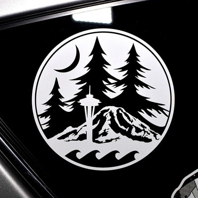 Seattle Space Needle, Washington Mount Rainier Decal - Finishing Touch Vinyl Art