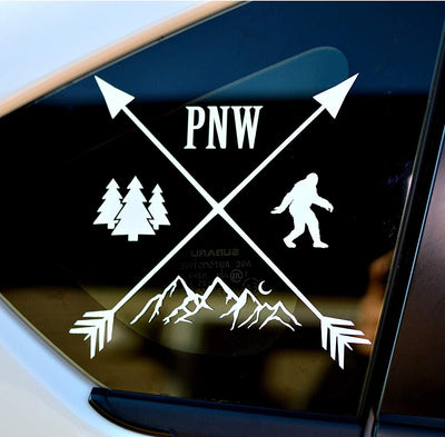 Sasquatch PNW Crossing Arrows, Mountains and Trees Decal - Finishing Touch Vinyl Art