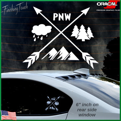 Pacific Northwest Crossing Arrows, Mountains, Trees - Finishing Touch Vinyl Art