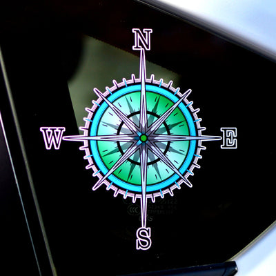 Compass Rose, Nautical Blue & Green Compass - Finishing Touch Vinyl Art