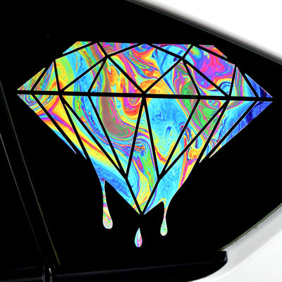 Swirling Colorful Diamond with Dripping Paint Finish Sticker - Finishing Touch Vinyl Art