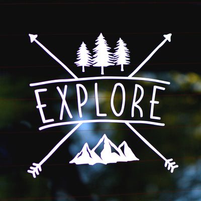 Explore, Rustic Crossed Arrows With Mountain & Pine Trees - Finishing Touch Vinyl Art