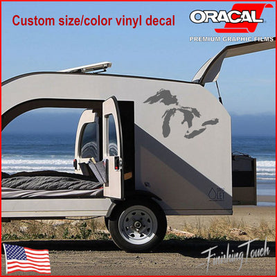 The Great Lakes Detailed Decal - Huron, Ontario, Michigan, Erie, & Superior - Finishing Touch Vinyl Art