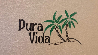 Pura Vida Costa Rica Palm Tree Island Decal - Finishing Touch Vinyl Art