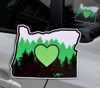 Oregon Green Heart in the Forest, I Love Oregon Sticker - Finishing Touch Vinyl Art