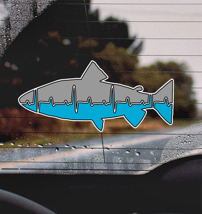 Heart Beat Trout Blue and Gray Fishing Lifeline - Finishing Touch Vinyl Art