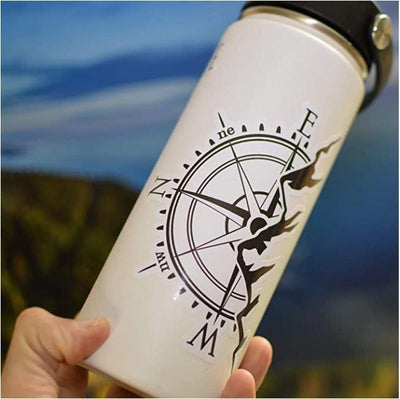 Compass Rose Mountain Black and White Sticker - Finishing Touch Vinyl Art
