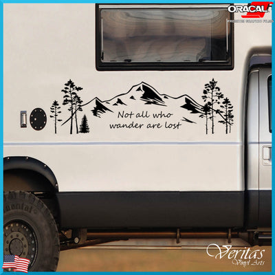 Not All Who Wander Are Lost Mountain With Aspen & Fir Trees - Finishing Touch Vinyl Art