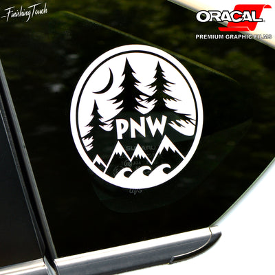 PNW Round Mountain and Forest with Ocean - Finishing Touch Vinyl Art