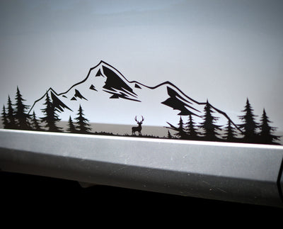 Mountain Range, Elk In Forest Clearing -Set - Finishing Touch Vinyl Art