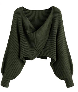 SweatyRocks Womens Casual Long Sleeve V Neck Tie Ruched Knit Crop Top Sweater