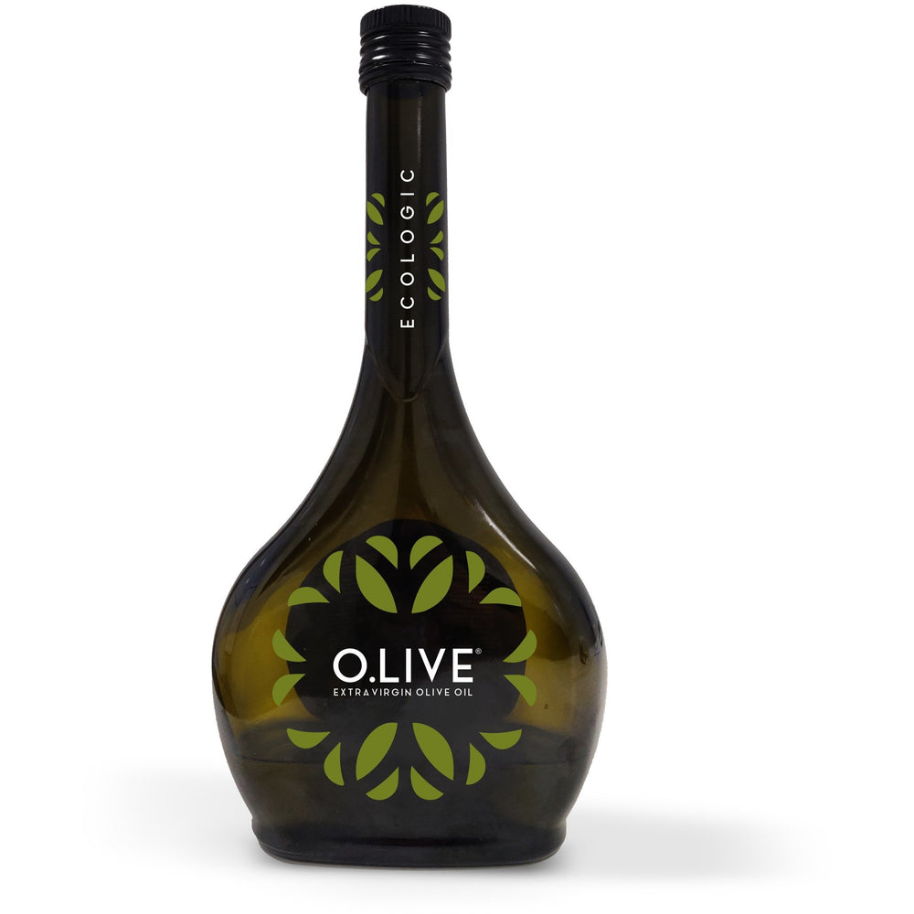 black bottle gold writing o.live premium andalucian extra virgin olive oil 500 ml with white background