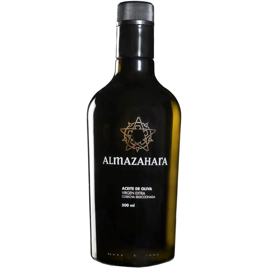 Load image into Gallery viewer, Glass Bottle 500ml Spanish Almazahara Cold Pressed Extra Virgin Olive-Oil white background