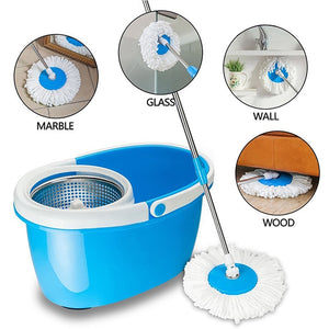 Easy Washable New 360 Degree Rotating Magic Microfiber Heads House Cleaning Products General Rod+Stainless Tray Floor Mop Heads