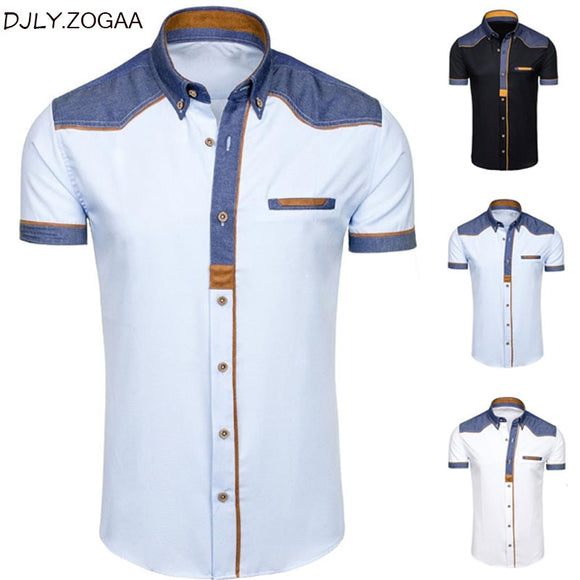 ZOGAA Men's Shirts Denim Short Sleeve Formal Shirts Man Casual Summer Clothing Tops Brand Slim Cotton Plus Size Male Shirts
