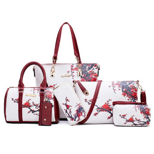 New Arrivals 6pcs/Set Fashion Women Handbags Prints PU Leather Composite Bag Clutch Set Large Shoulder Bag Purse Female
