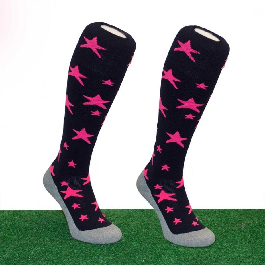 Hingly Fun Socks Star Dark Blue-Pink - Just Hockey
