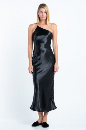 Load image into Gallery viewer, black satin midi dress