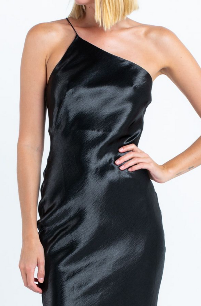 Load image into Gallery viewer, black satin one strap midi dress