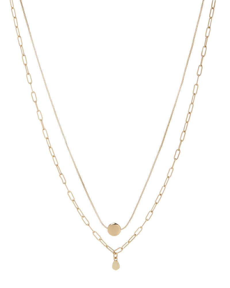 double charm gold necklace