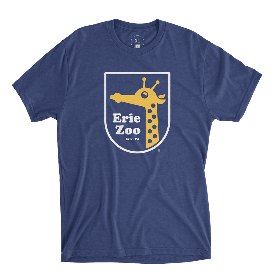 Erie Zoo Giraffe Tee- Navy