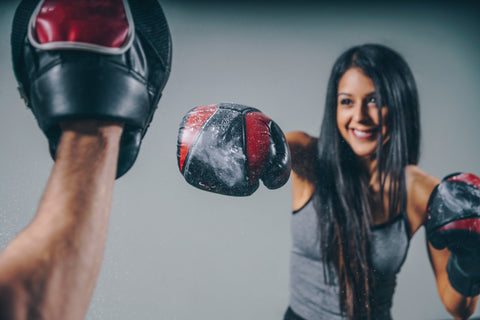 Woman enjoying her boxing workout