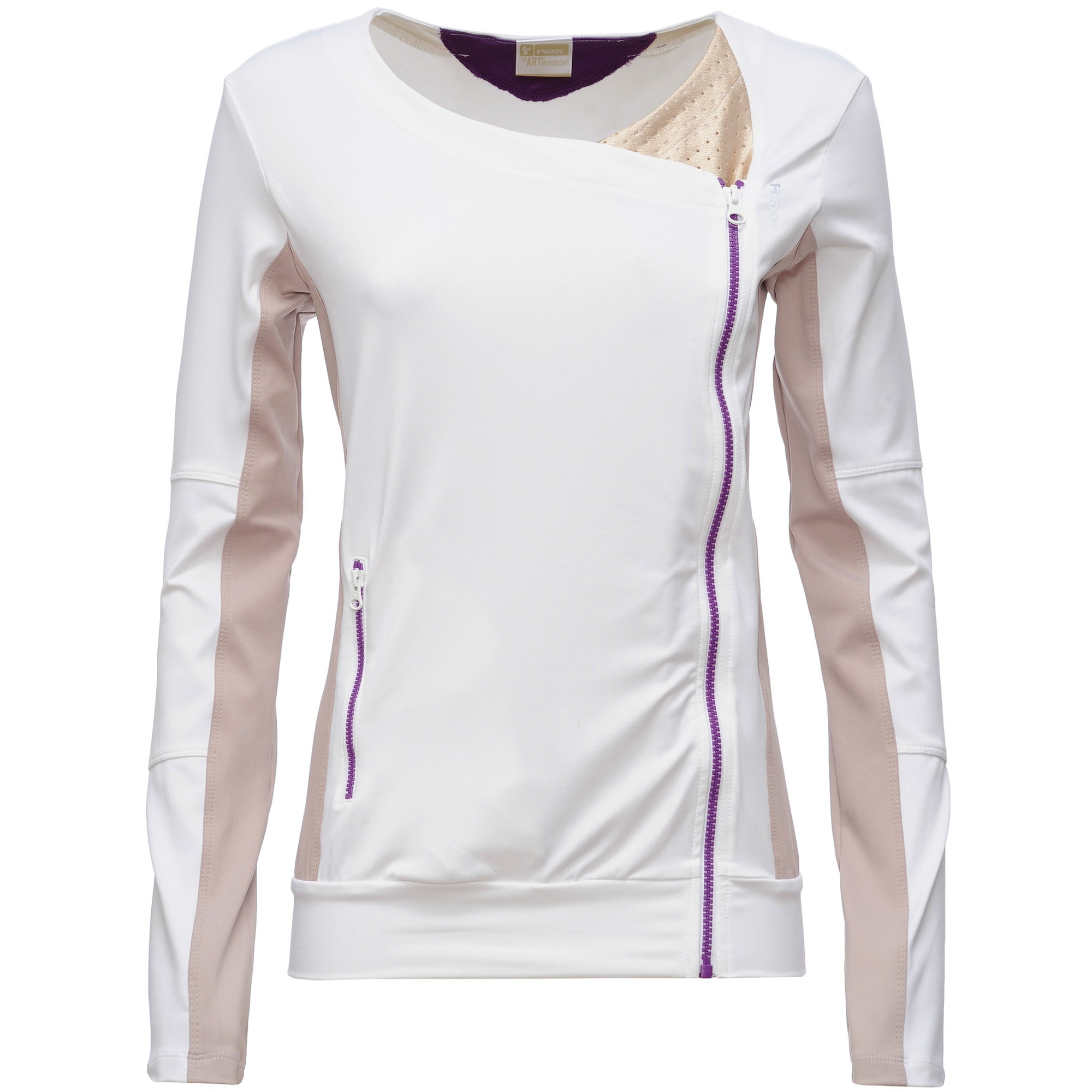 FREDDY WHITE ACTIVE ASYMMETRICAL ZIP SWEAT - WHITE - LIVIFY