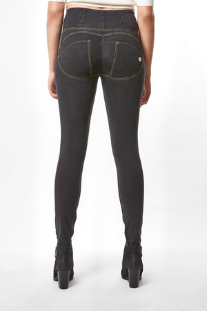 WR.UP® Denim - High Rise Full Length - Black Rinse + Yellow Stitching